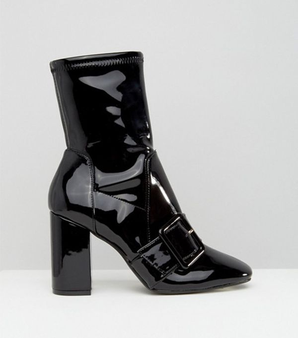 River Island Patent Buckle Sock Boots