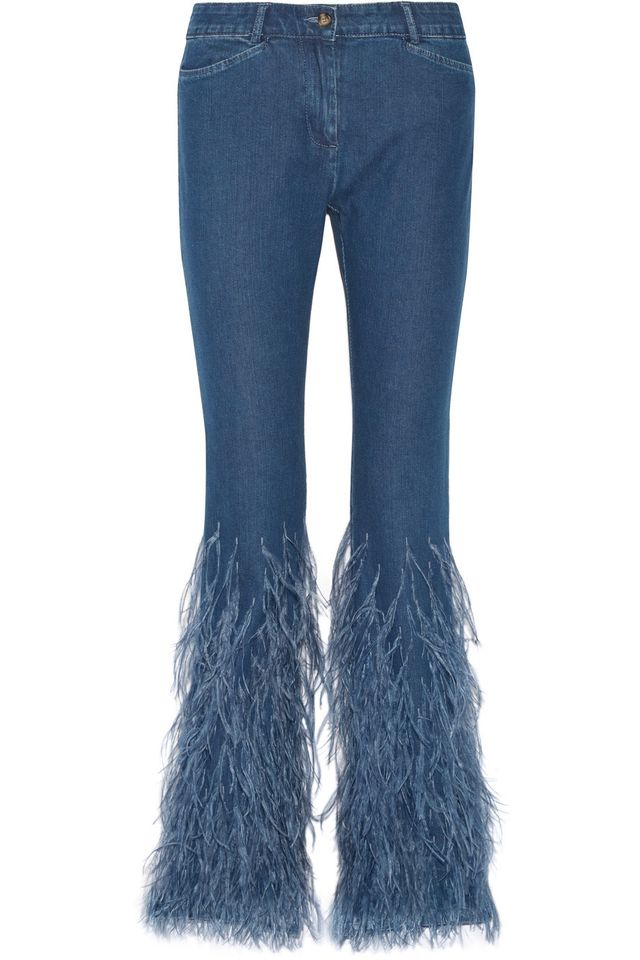 Michael Kors Collection Feather-Trimmed Jeans
