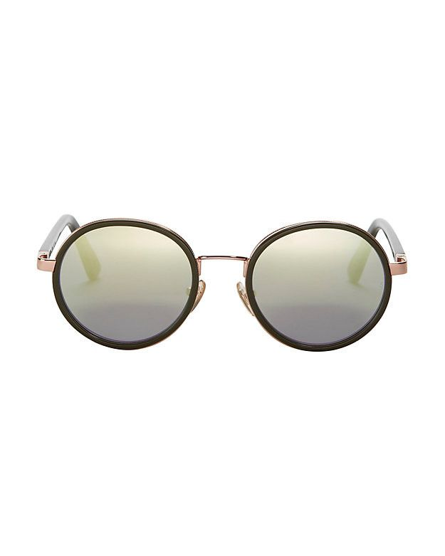 Sunday Somewhere Mirrored Lens Olive Sunglasses