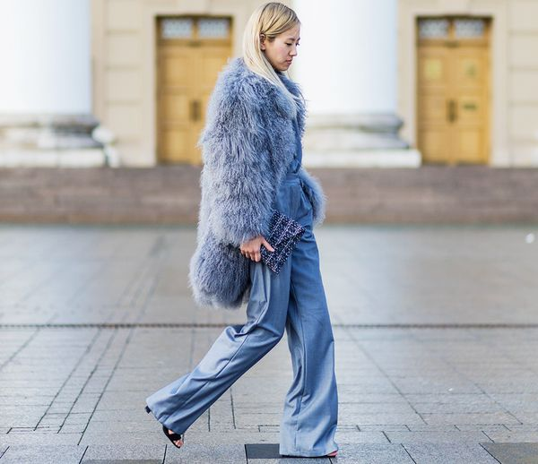 Style Notes: Match your jumpsuit to your fluffy coat. Why not?