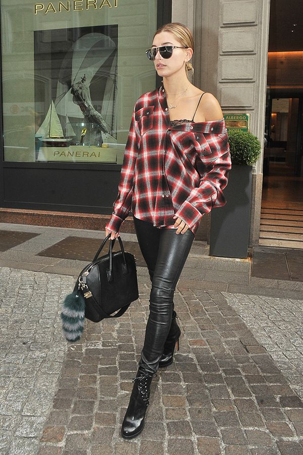 Plaid Shirt + Leather Pants + Ankle Boots + Tote Bag
