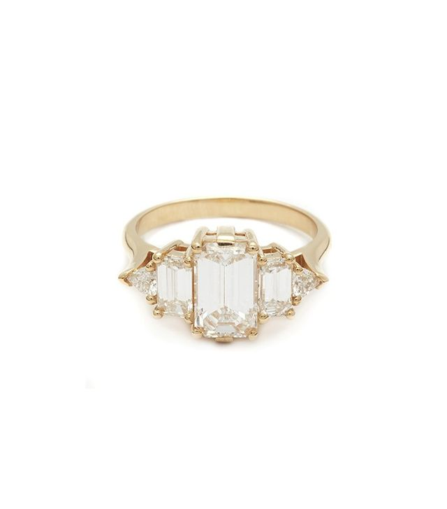 Anna Sheffield Theda Ring, Emerald Cut White Diamond