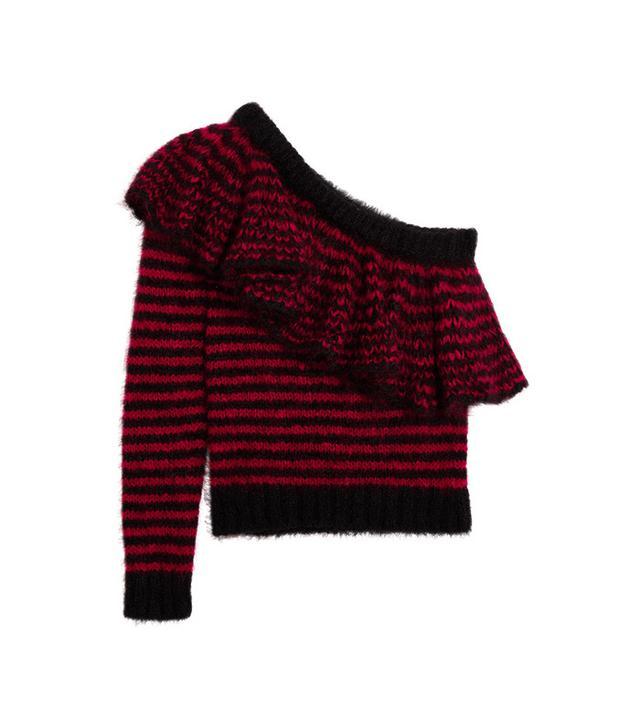 Philosophy di Lorenzo Serafini One-Shoulder Ruffled Mohair-Blend Sweater