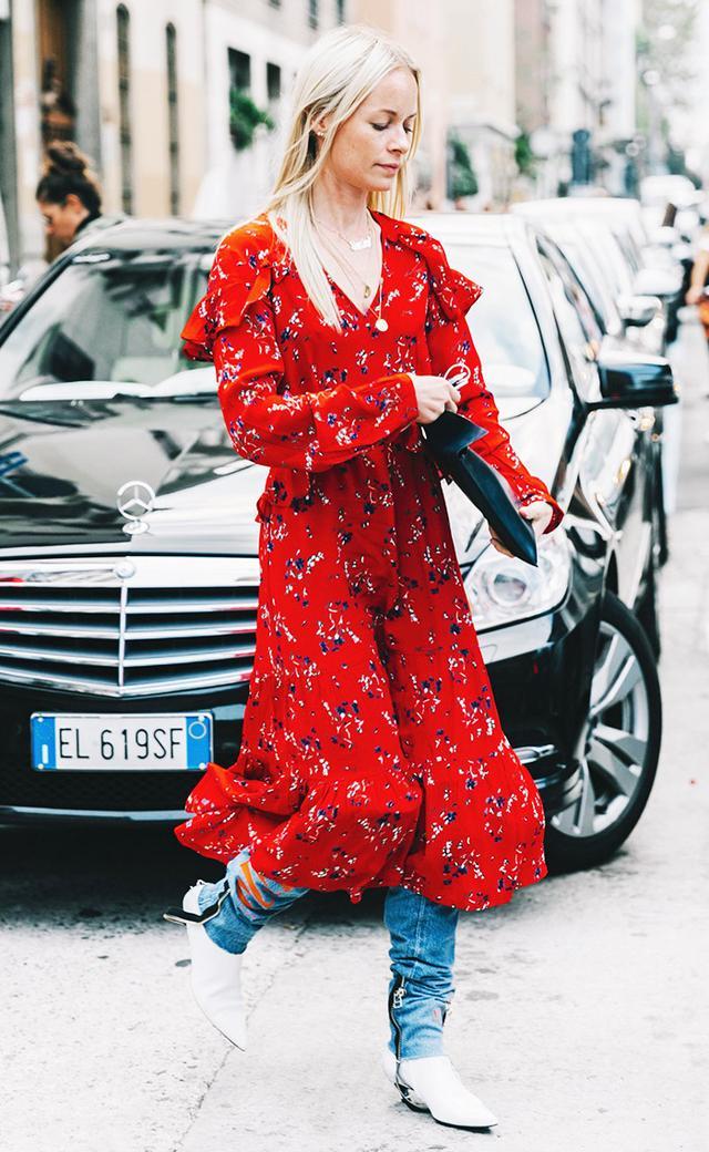 dress over pants street style