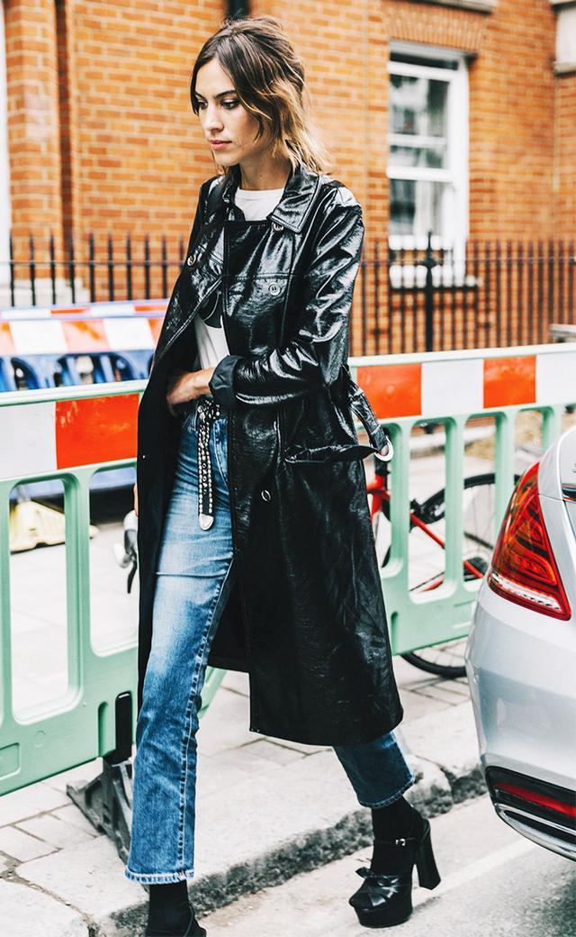 patent coat jeans alexa chung street style