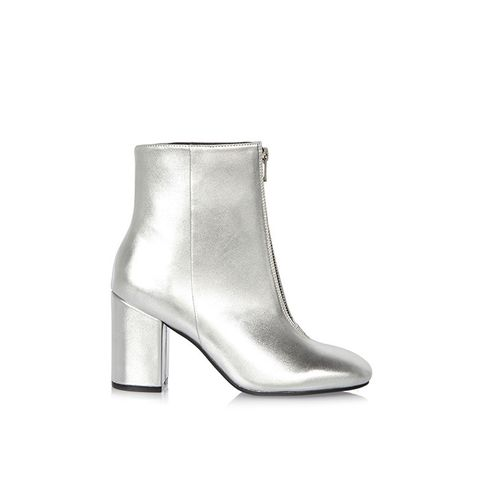 Silver Zip Front Boot