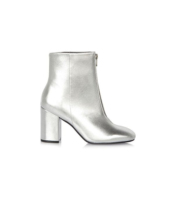 River Island Silver Zip Front Boot