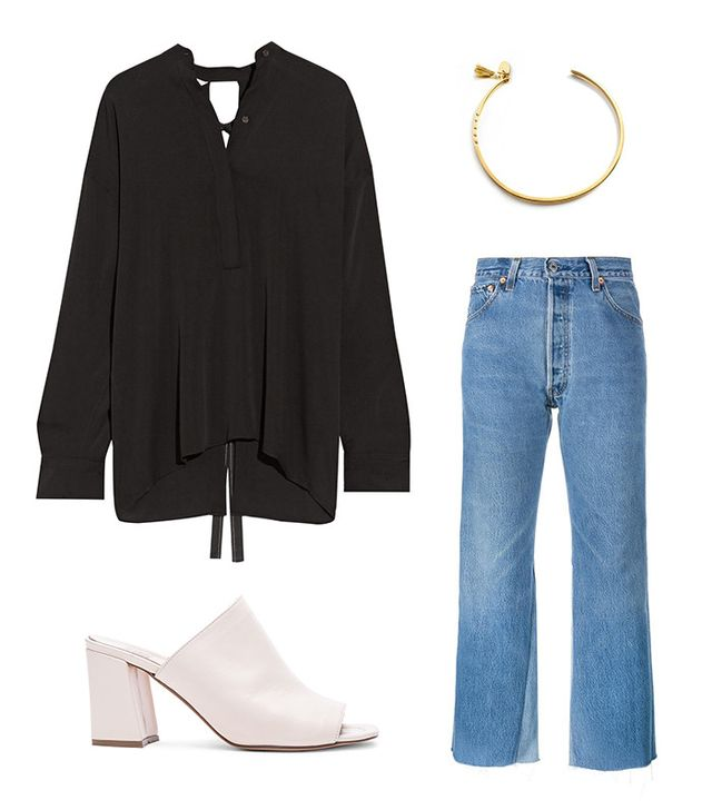 Pictured: Helmut Lang Open-Back Stretch-Silk Blouse ($370); Re/Done Leandra Jeans ($325); Maryam Nassir Zadeh Penelope Leather Mules ($425); The Brave Collection Tassel Cuff ($95).