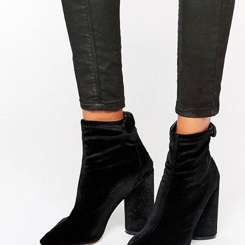 Lia Velvet Heeled Ankle Boots