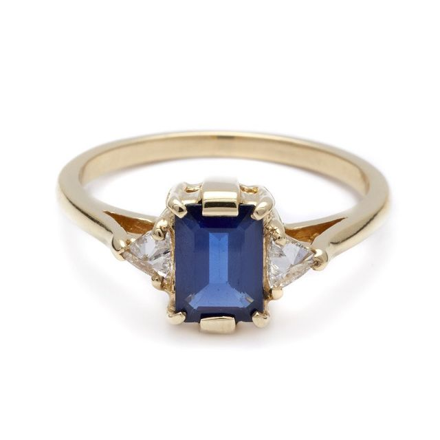 Anna Sheffield Bea Three Stone Blue Sapphire Ring
