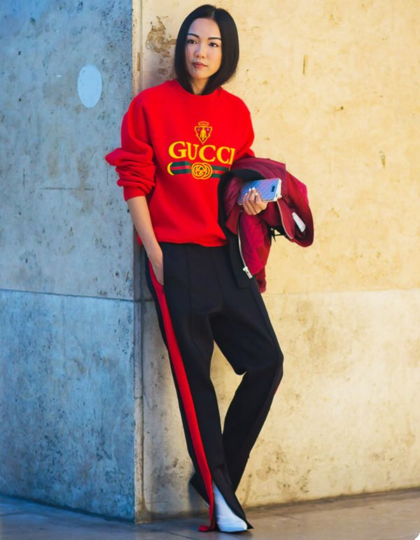 Red is the color of the moment—coordinate a red sweatshirt with your track pants when you're running around town.