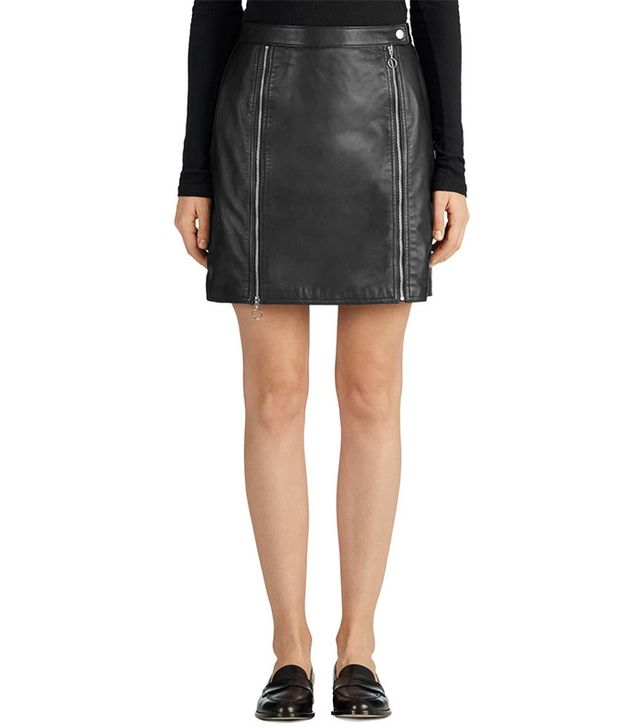 J Brand Claret Leather Skirt