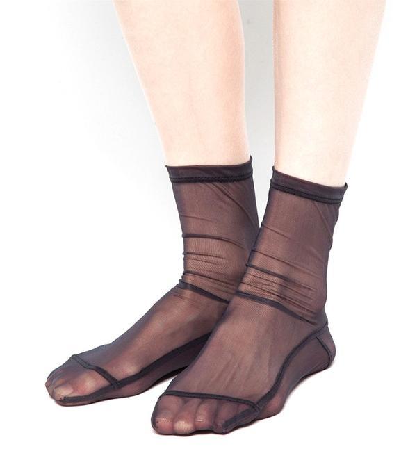 Darner Black Solid Socks