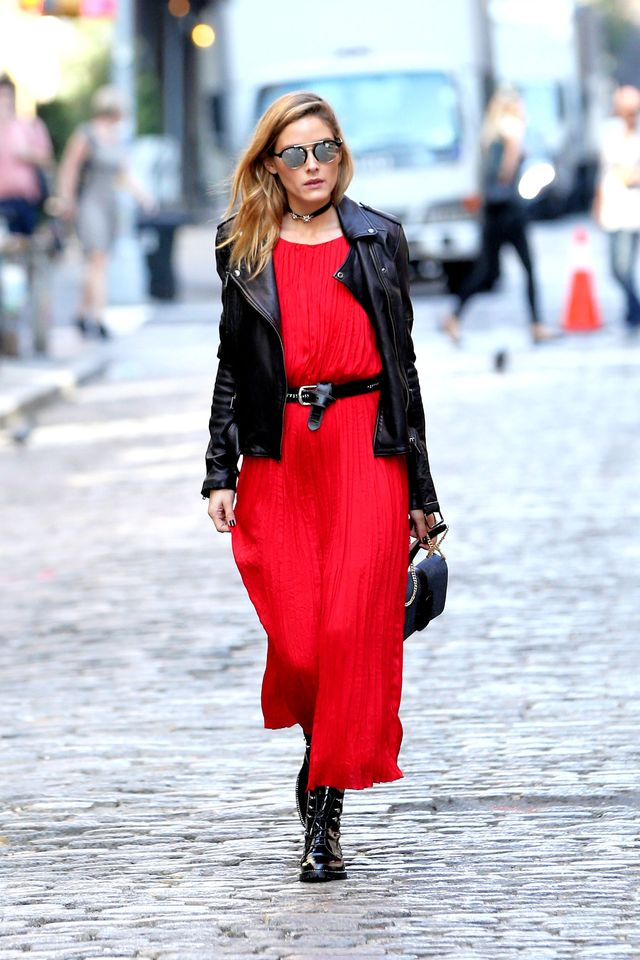Olivia Palermo in a red maxi dress and leather biker jacket