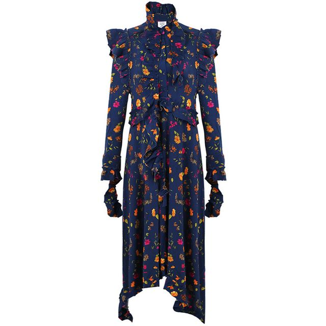 Vetements Ruffle Dress Floral Navy