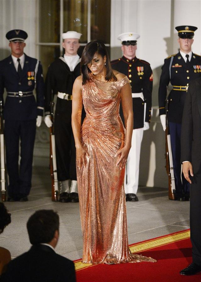 On Michelle Obama: Atelier Versace gown.