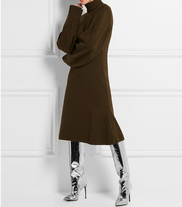 Balenciaga Stretch Wool-Blend Sweater Dress