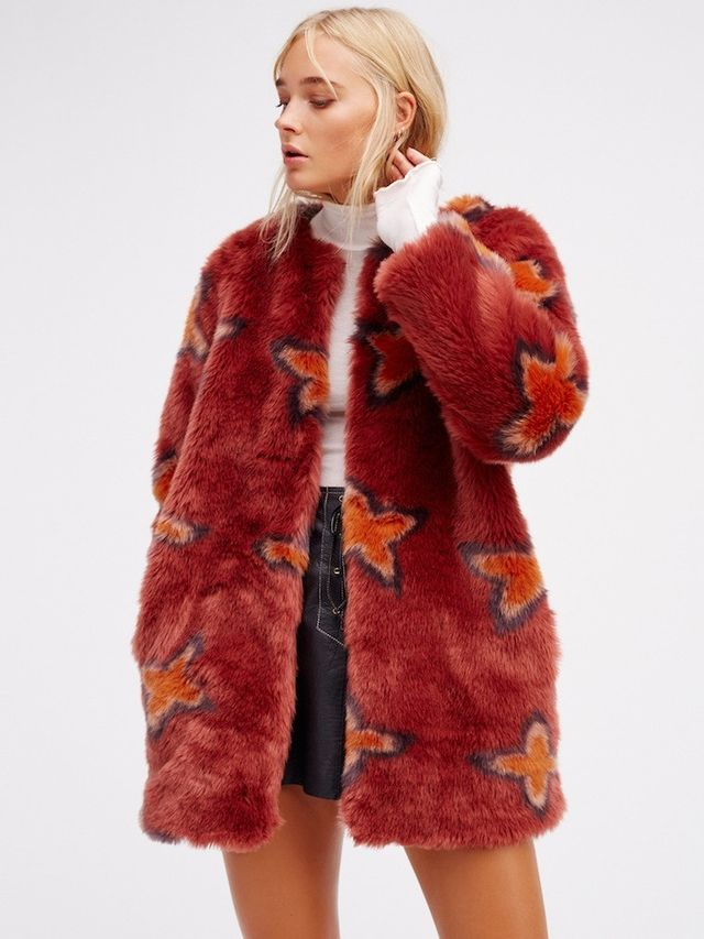 Free People Wrap Me Up Faux Fur Jacket