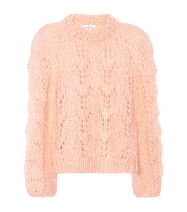 Pink jumper trend: Ganni Faucher Wool and Mohair Sweater