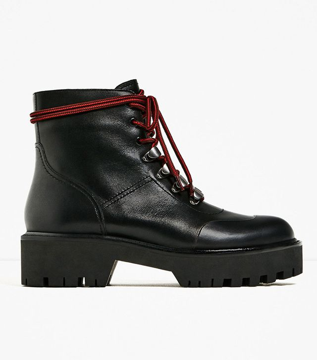 Zara Leather Ankle Boots With Track Sole