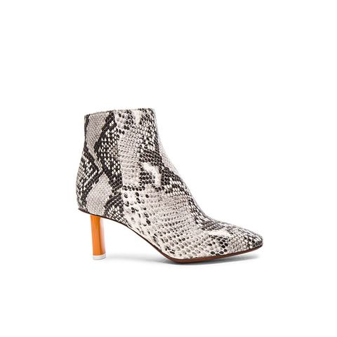 Python Embossed Ankle Boots in Python & Orange