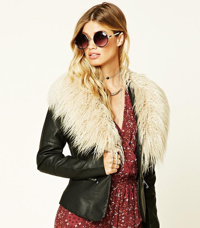 Forever 21 Faux Fur-Trimmed Jacket