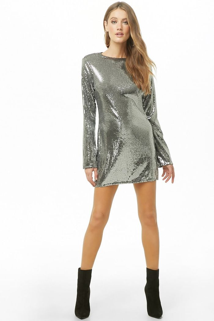 Forever21 Metallic Sequin Mini Shift Dress