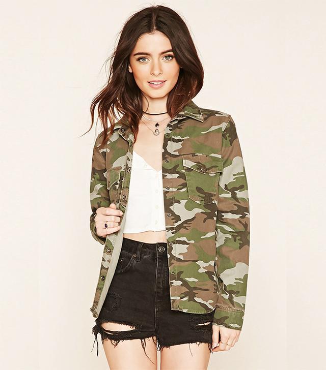 Forever 21 Camouflage Print Shirt Jacket