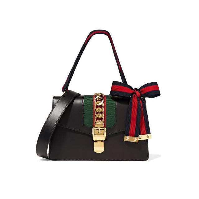 Gucci Sylvie Canvas-Paneled Leather Shoulder Bag