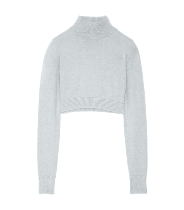 Balmain Cropped angora-blend turtleneck sweater