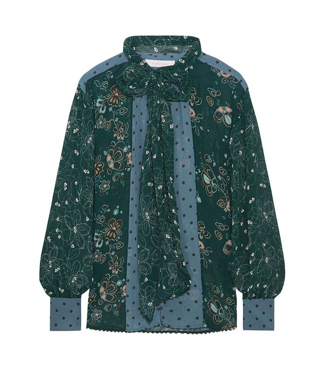See by Chloé Pussy-Bow Printed Georgette Blouse