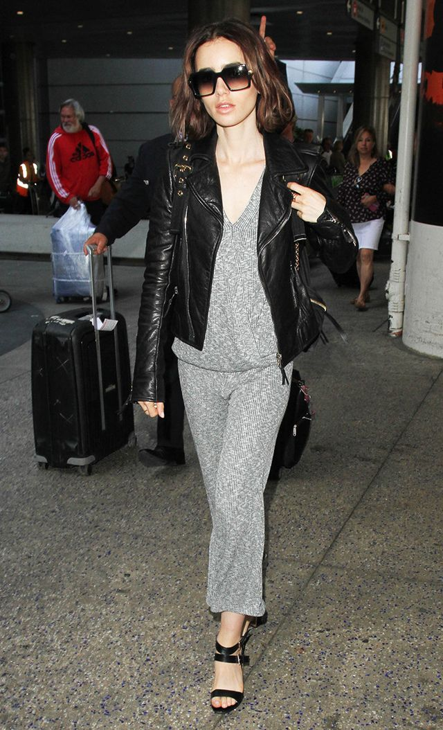Lily Collins at LAX in Bobeau sweater set and leather jacket