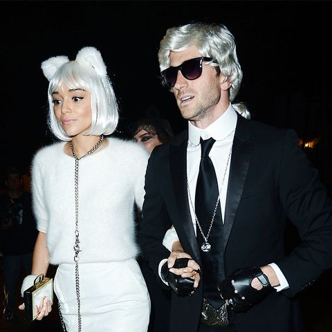 Ashley Madekwe and Iddo Goldberg as Karl Lagerfeld and Choupette