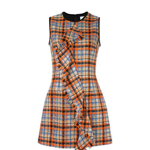 Checked Ruffled Front Dress