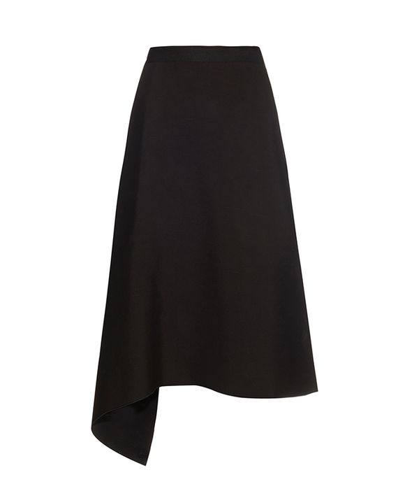 Drape-front crepe skirt