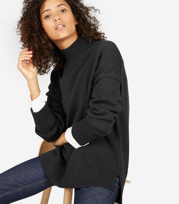 Women's Cotton Turtleneck Sweater by Everlane in Washed Black, Size XL