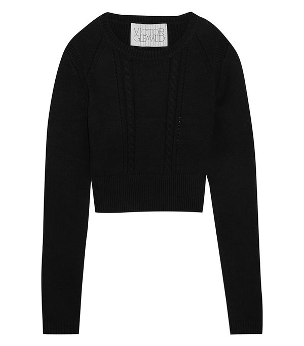 Cropped Open-back Cotton And Cashmere-blend Sweater