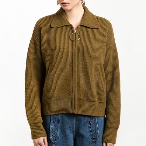 Olive Wool Pull Ring Zipper Cardigan