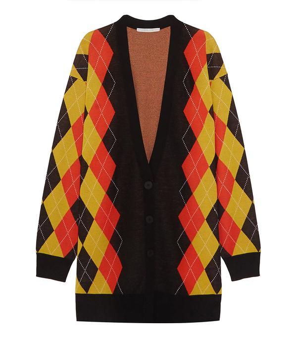 Oversized Argyle Wool Cardigan