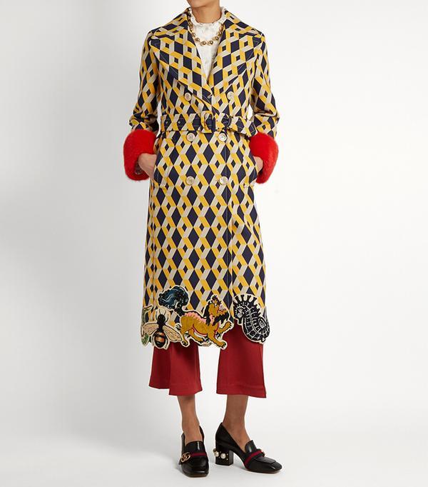 Geometric-print fur-trimmed wool-blend coat