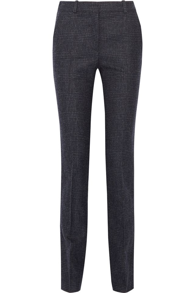 Victoria Beckham Cropped Checked Wool Slim-Leg Pants