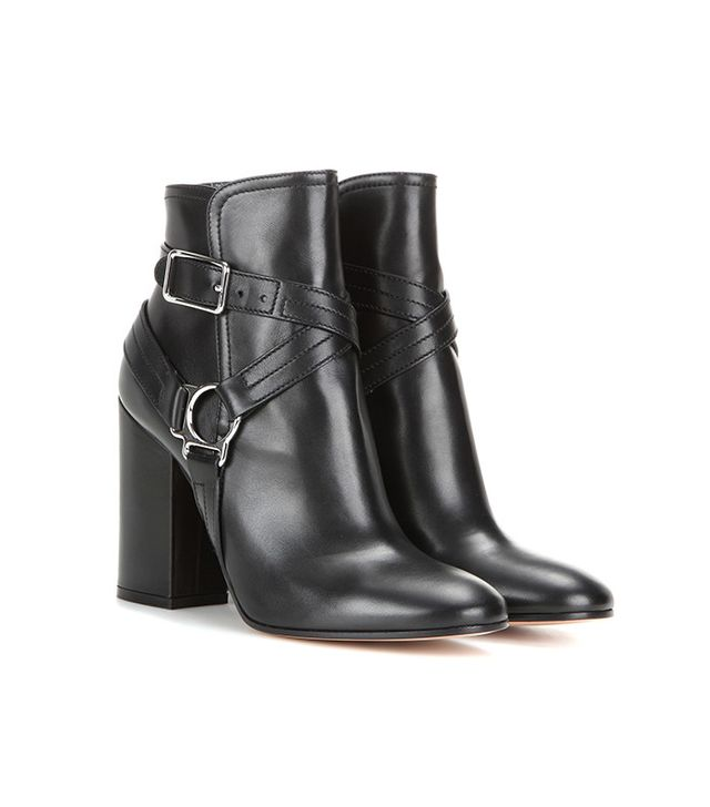 GIanvito Rossi Shetland Embellished Leather Ankle Boots