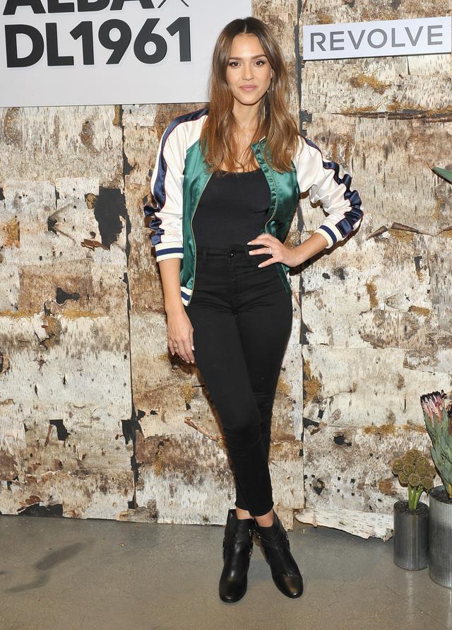 Jessica Alba Lovers + Friends Varsity Jacket DL1961 x Jessica Alba Event Revolve Social Club