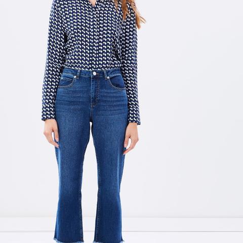Raw Hem Crop  Wide Leg Jeans