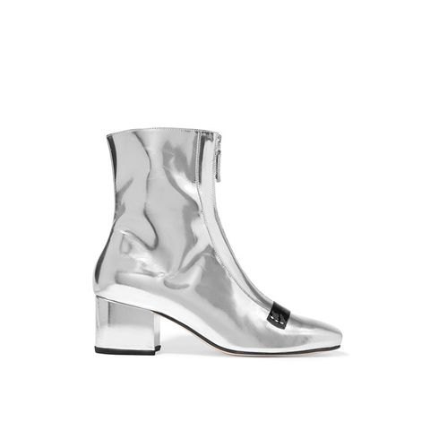 Double Delta Mirrored-Leather Ankle Boots