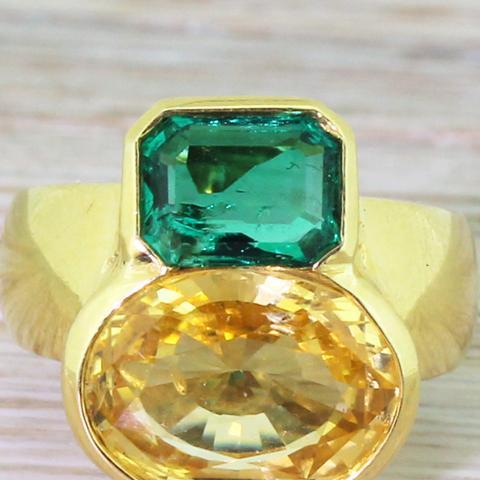Avant Garde Yellow Sapphire and Emerald Ring