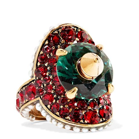 Gold-plated Swarovski Crystal and Faux Pearl Ring