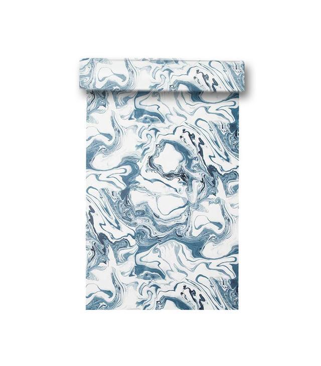 Rebecca Atwood Marble Wallpaper in Ocean Sample