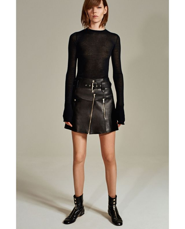 Zara Leather Studio Skirt ($149) and Studio Flat Ankle Boots with Zipper ($159).  Yes, you need a leather skirt in your life.