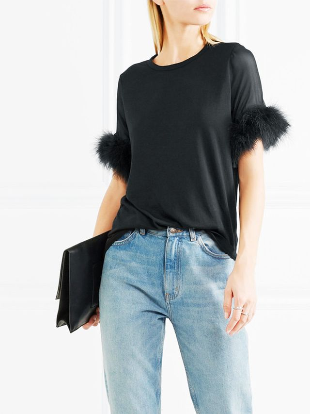 Clu Faux Fur-Trimmed T-Shirt
